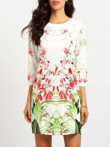 White Long Sleeve Flowery Petals Floral Dress