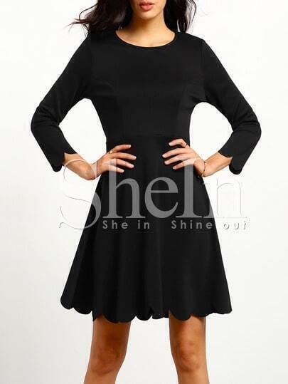 Black Round Neck Ruffle Dress