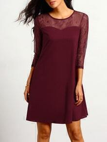 Burgundy Round Neck With Lace Dress