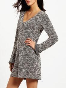 Grey Long Sleeve V Neck Dress