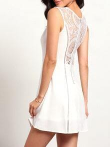 White Sleeveless With Lace Zipper Dress