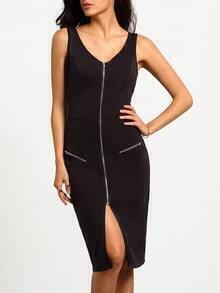 Black Sleeveless V Neck Zipper Dress