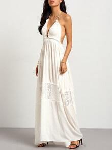 White Spaghetti Strap Lace Insert Maxi Dress