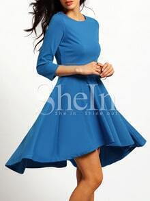 Blue High Low Pleated Dress