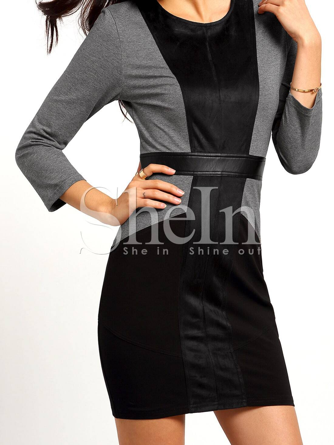 Black Grey Round Neck Color Block Dress