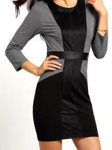 Black Grey Round Neck Color Block Dress