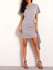 Grey Short Sleeve Careers Wrapover Bodycon Dress