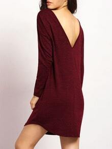 Burgundy Long Sleeve V Back Dress