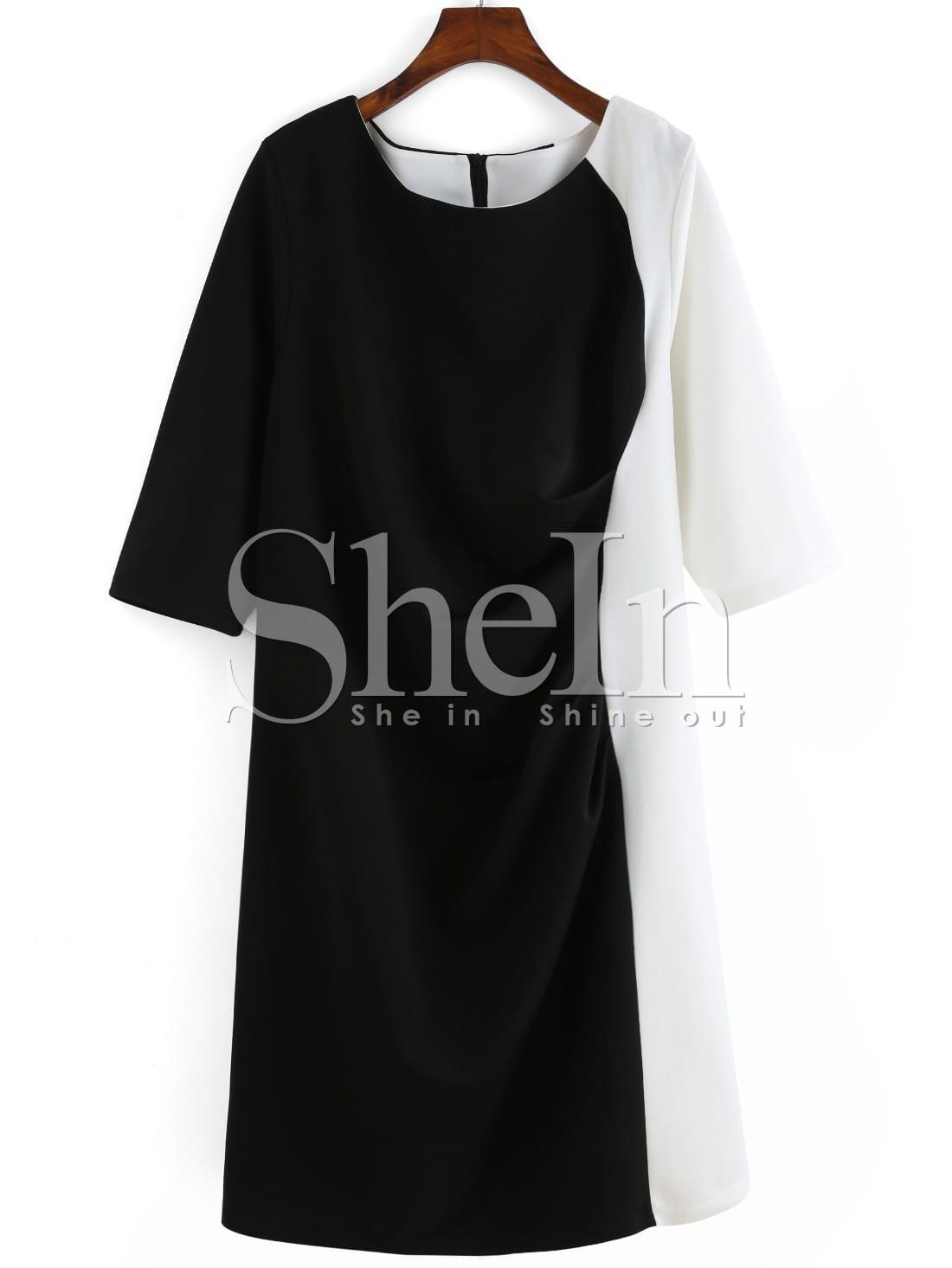 Color-block Round Neck Folds Plus Size Dress цена и фото