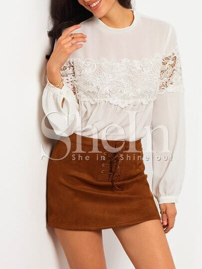 White Long Sleeve With Lace Blouse pictures
