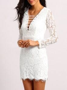 White Deep V Neck Lace Bodycon Dress