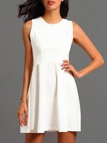 White Round Neck Sleeveless Flare Dress