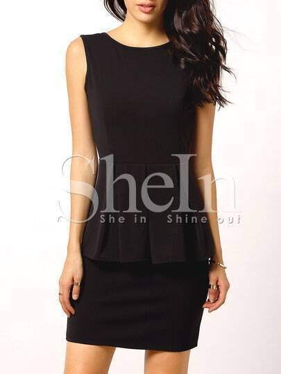 Black Sleeveless Backless Peplum Dress