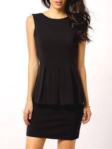 Black Sleeveless Backless Peplum Dress