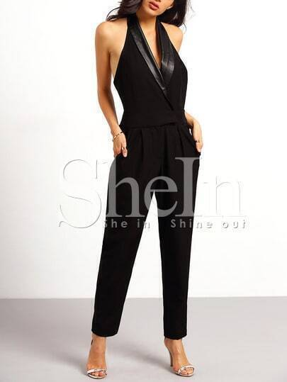 Black Halter PU Leather Pockets Jumpsuit