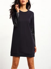 Navy Long Sleeve Color Block Dress