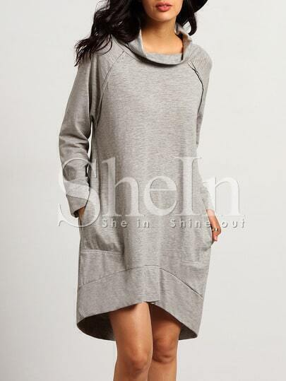 Grey Long Sleeve High Neck Dress