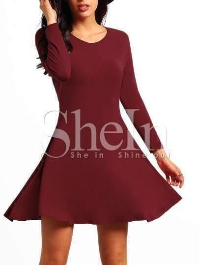 Red Pullover Long Sleeve Casual Drop Waist Dress