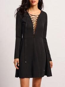 Black V Neck Lace Up Dress