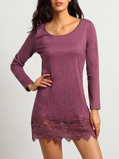 Purple Round Neck Lace Hem Loose Dress