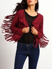 Red Long Sleeve Tassel Jacket