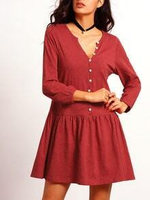 Wine Red Long Sleeve Pockets Dress
