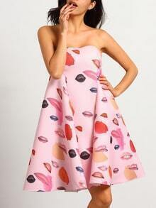 Pink Boobtube Strapless Lips Print Patterns Damask Flare Dress