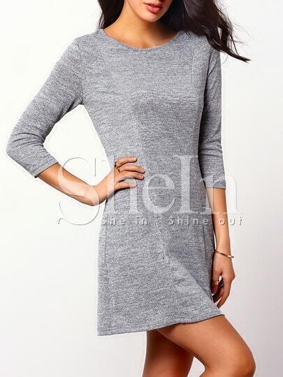 Grey Round Neck Pockets Casual Dress