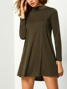 Army Green Stand Collar Long Sleeve Loose Dress