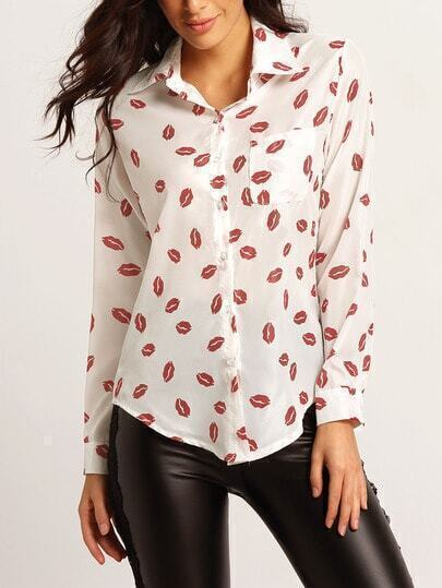 White Lapel Long Sleeve Lips Print Blouse