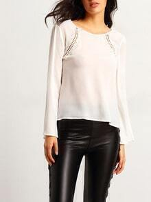 White long Sleeve V Back Blouse