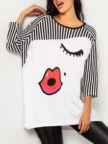 Black White Round Neck Striped Lip Print T-Shirt
