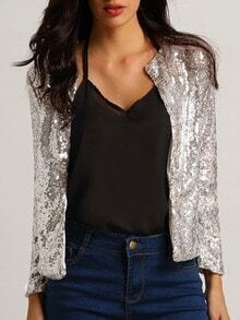With Sequined Slim Silver Blazer