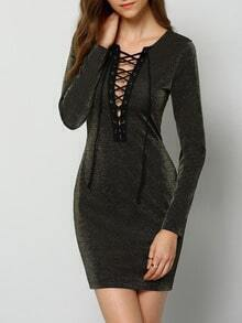 Black Long Sleeve Lace Up Bodycon Dress