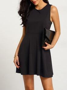 Black Round Neck Sleeveless Pleated Dress