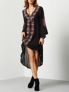 Black V Neck Bell Sleeve Embroidered High Low Dress