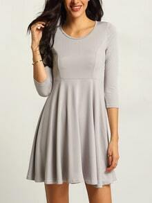 Long Sleeve A-Line Grey Dress