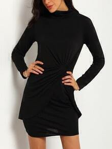 Black Turtleneck Long Sleeve Knotted Sheath Dress
