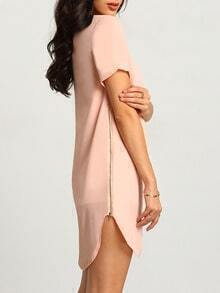 Pink Short Sleeve Asymetric High Low Zipper Dress