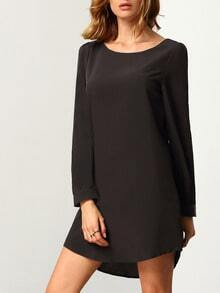Black Colbalt Long Sleeve Casual Dress