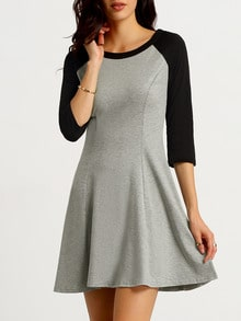 Grey Black Raglan Long Sleeve Color Block Dress