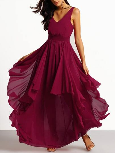 Burgundy Deep V Neck Maxi Chiffon Dress pictures