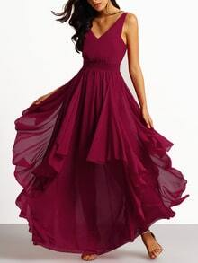 Burgundy Deep V Neck Maxi Chiffon Dress
