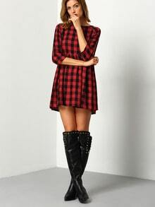 Red Black Round Neck Plaid Dress