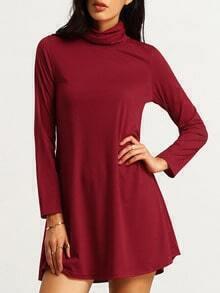 Burgundy High Neck Long Sleeve Slim Dress