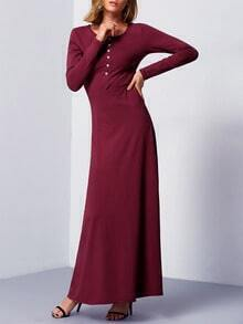Burgundy Long Sleeve Maxi Dress