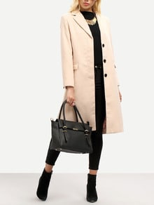 Pink Long Sleeve Lapel Coat