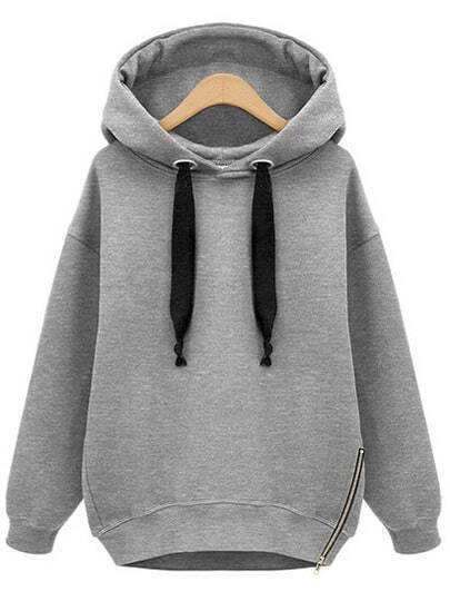 Grey Hooded Drawstring Zipper Loose Sweatshirt