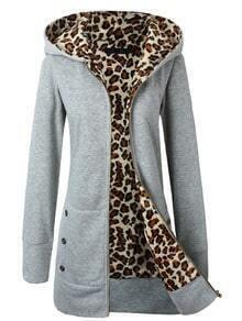Grey Hooded Leopard Buttons Slim Sweatshirt