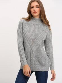 Grey Mock Neck Loose Sweater